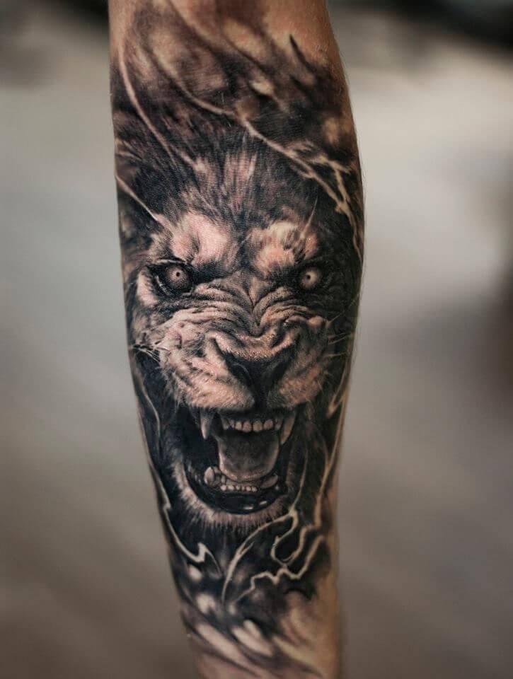 tatuaje de leon 3D