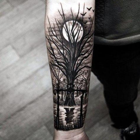 Tatuaje de bosque de noche