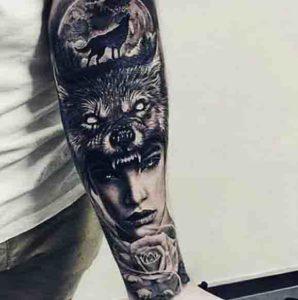 lobo aullando a la luna tattoo