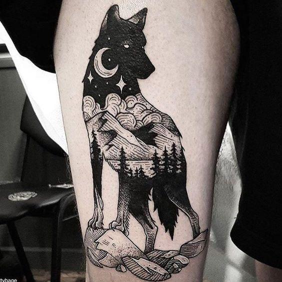 lobo en la noche