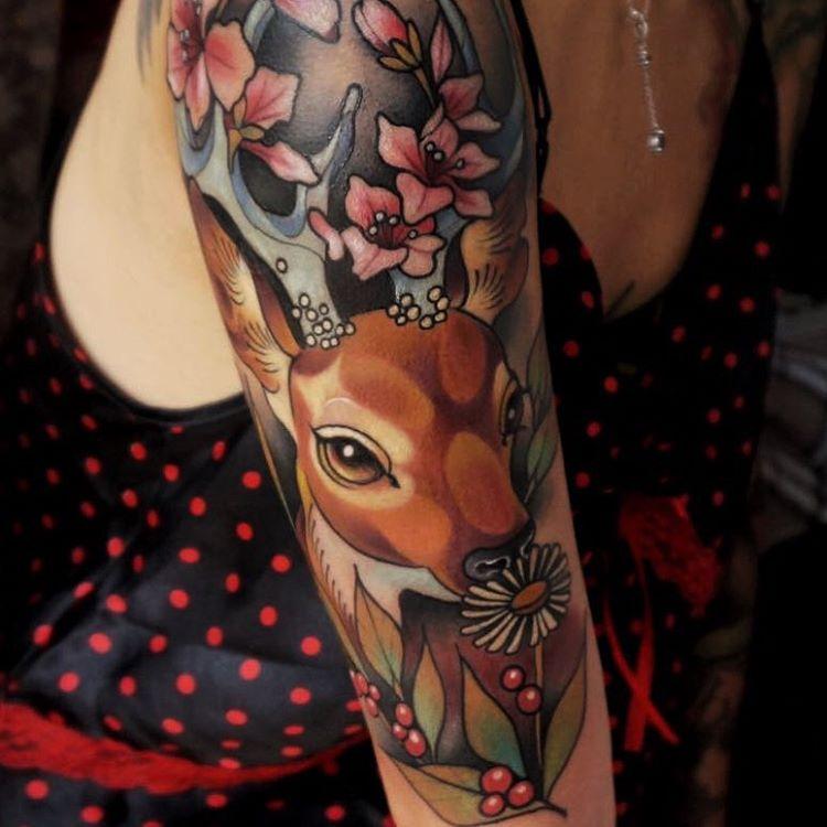 tatuaje de bambi para mujer