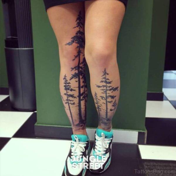 tatuaje de bosque para mujer