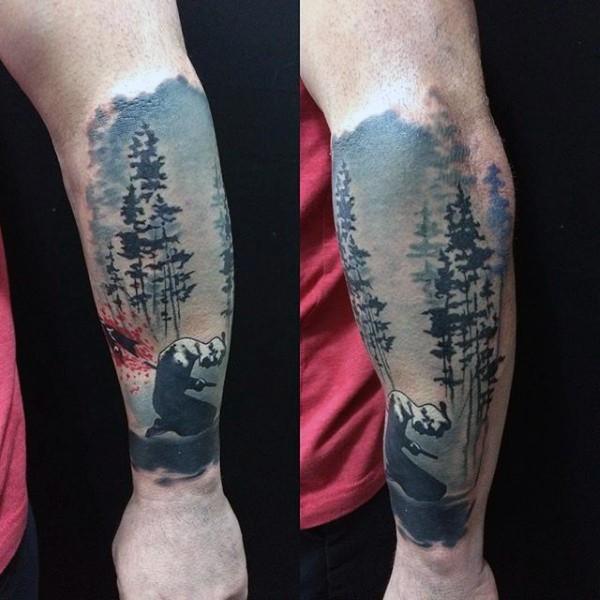 tatuaje de hombre en el bosque