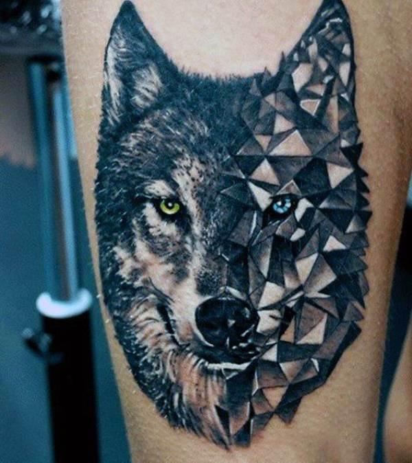 tatuaje de lobo geometrico