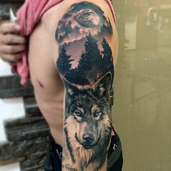 tatuaje lobo y luna