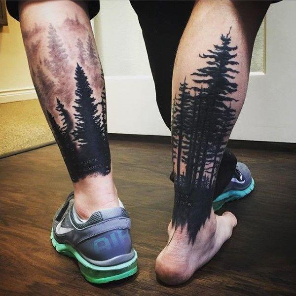 tatuajes de bosques en la pantorrilla
