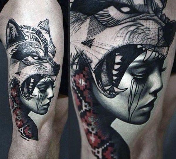 tatuajes de lobo en el brazo