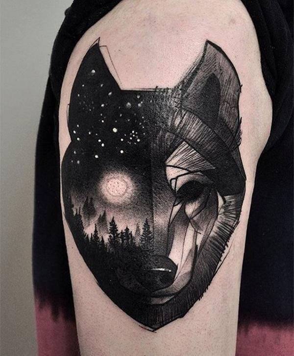tatuajes originales de lobo y triangulos