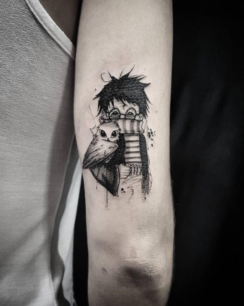 tatuaje anime harry potter lechuza