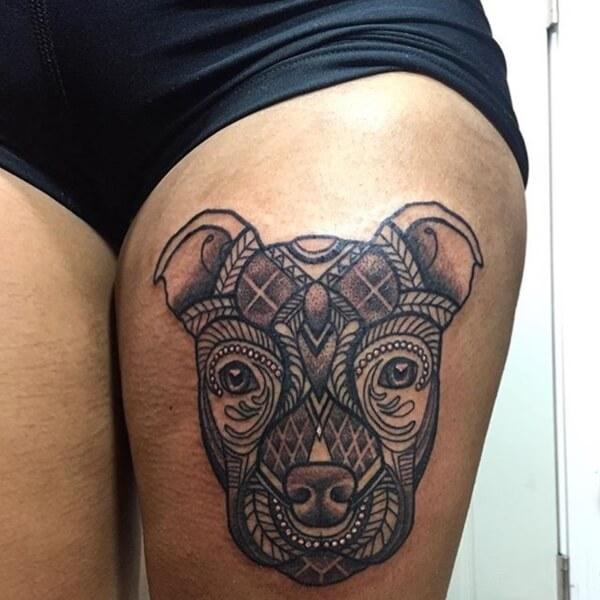tatuaje pitbull mandala