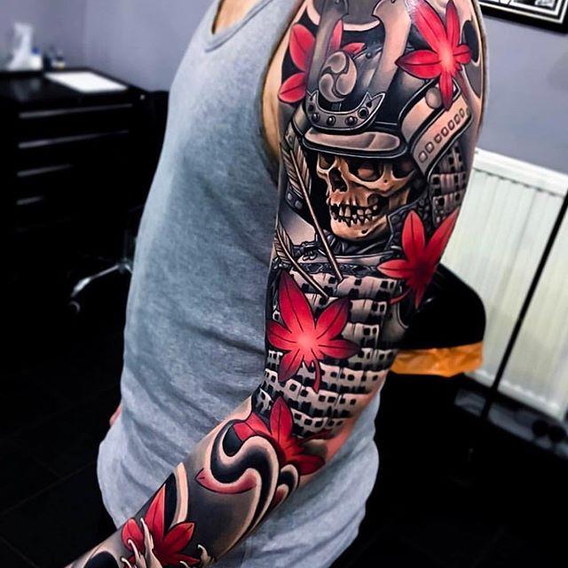 tatuaje guerrero samurai calavera