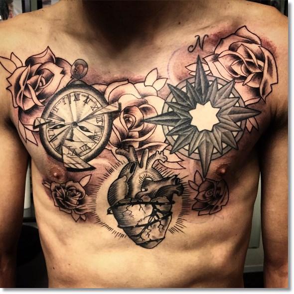 tattoo reloj en el pecho para hombre