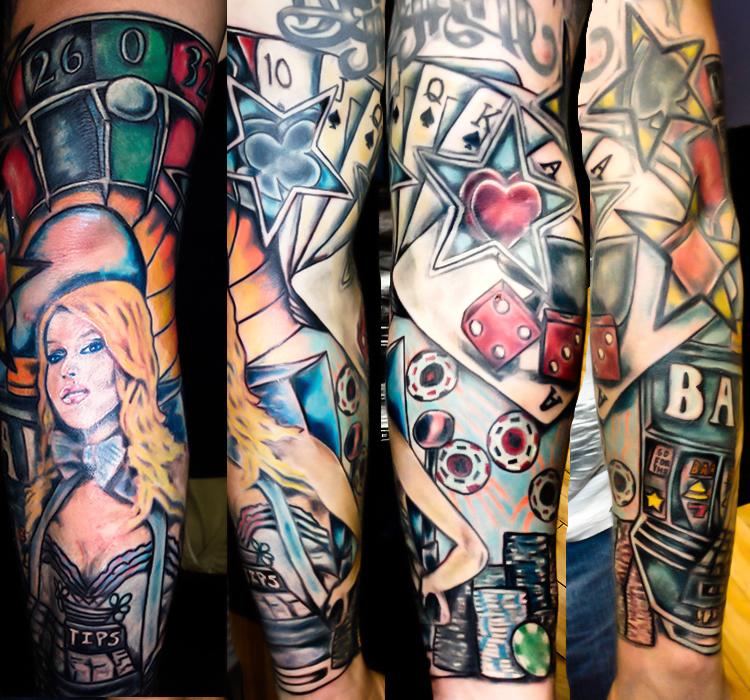 tatuaje casino a color brazo