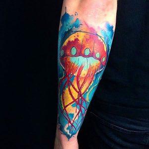 tatuaje medusa acuarela fulcolor