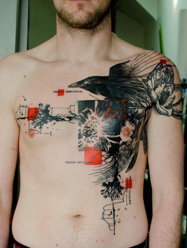 tatuaje para hombres de acuarela grande