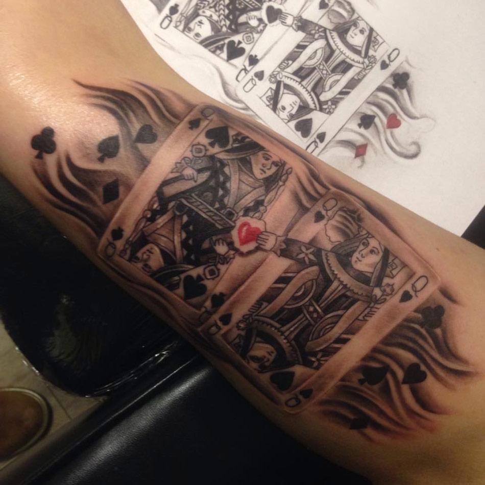 tatuaje reina de corazones