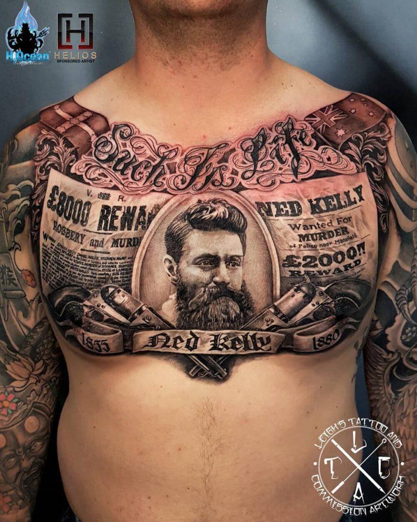 tatuajes 3D en el pecho hombre