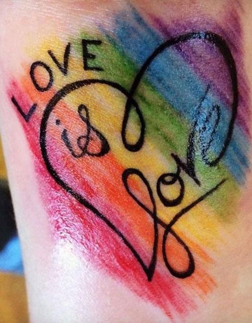 love corazon love tatuaje acuerela