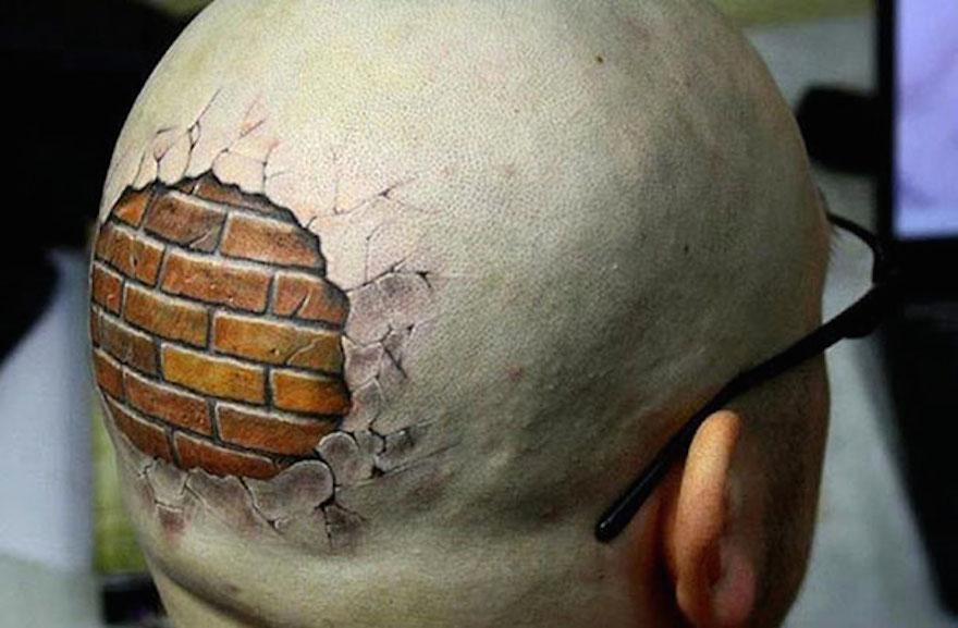 tatuaje 3D en la cabeza