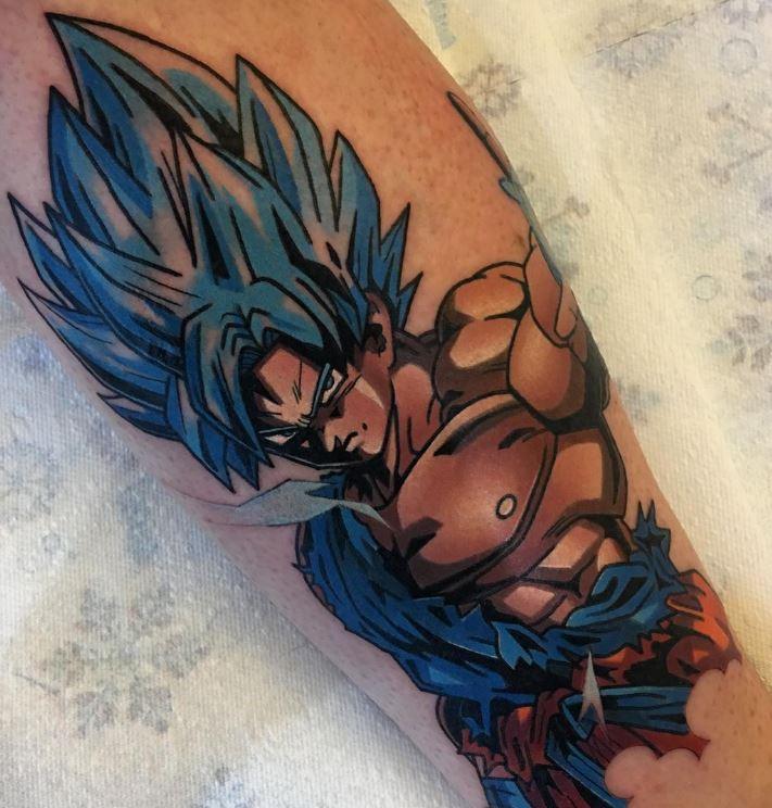 tatuaje de goku fase dios