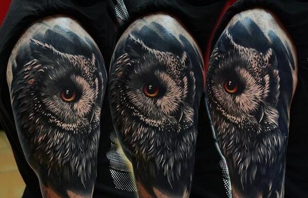 tatuaje de lechuza en el hombro