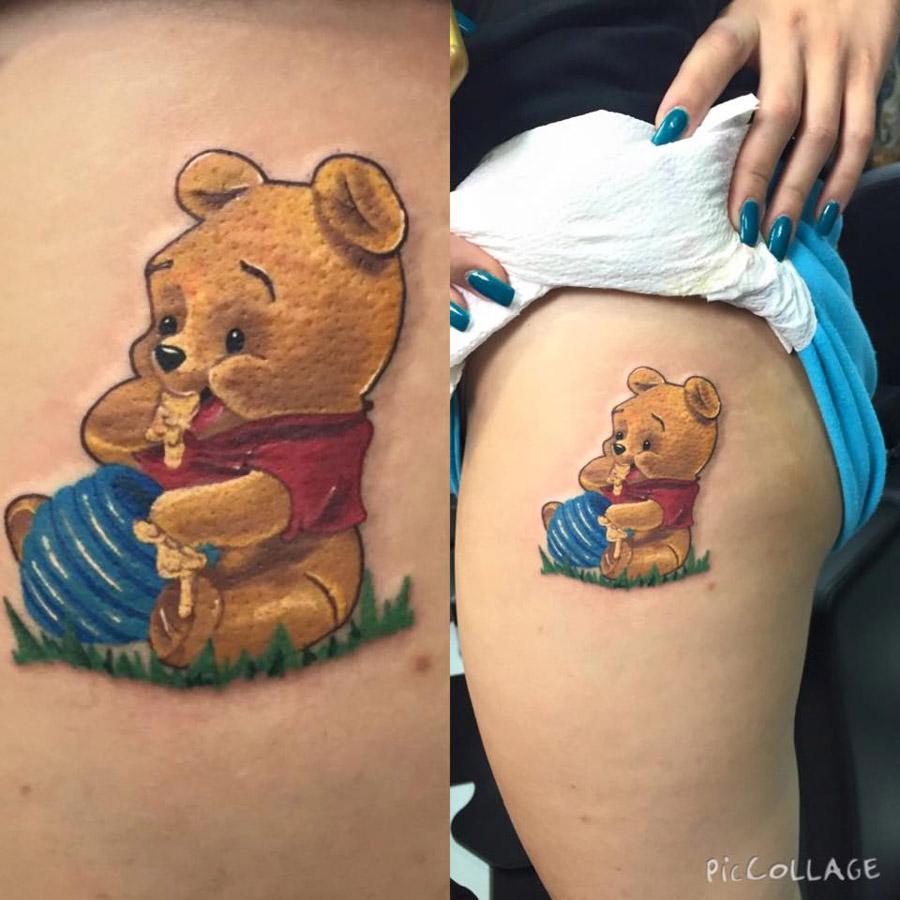 tatuaje de winnie pooh realista