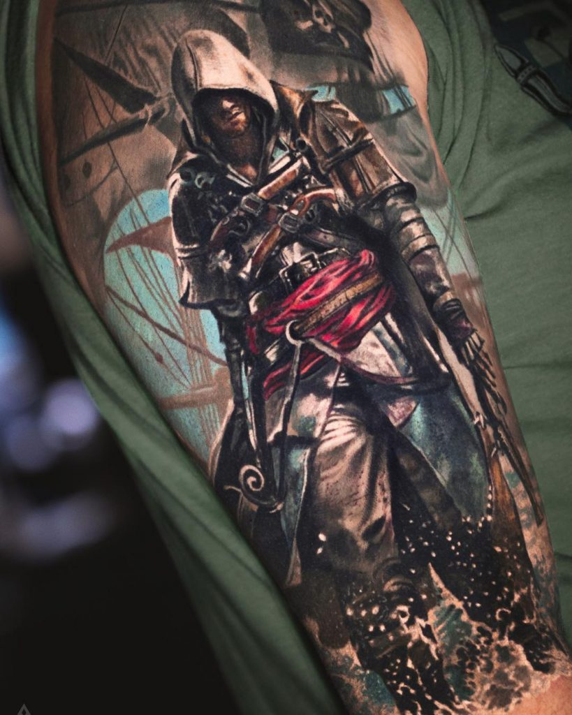 tatuaje realista de assassins creed
