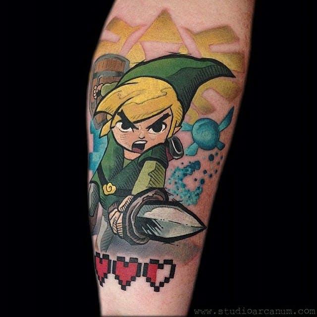 zelda con espada tatuaje