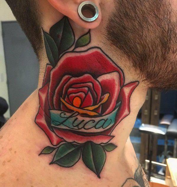 rosa en el cuello