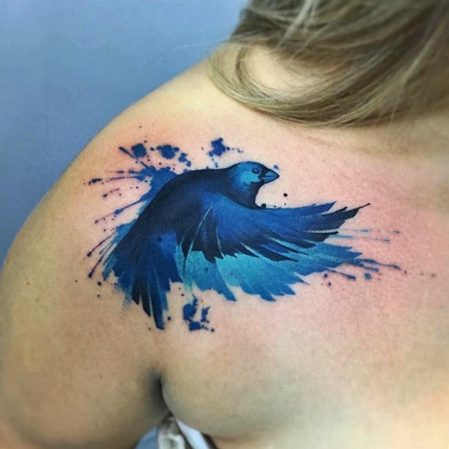 tatuaje de ave azul