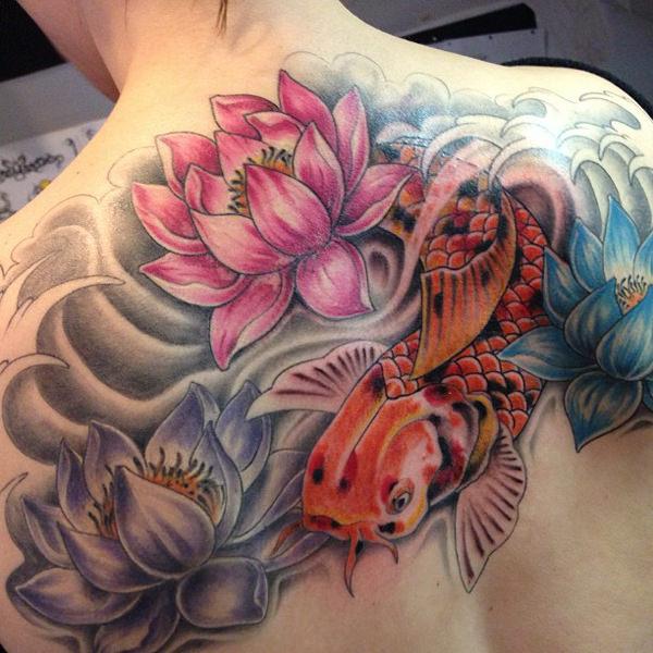 tatuaje de flor de loto a color