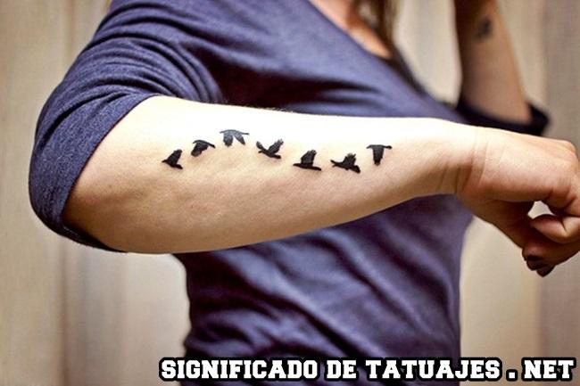 tatuaje de pájaros volando en el brazo