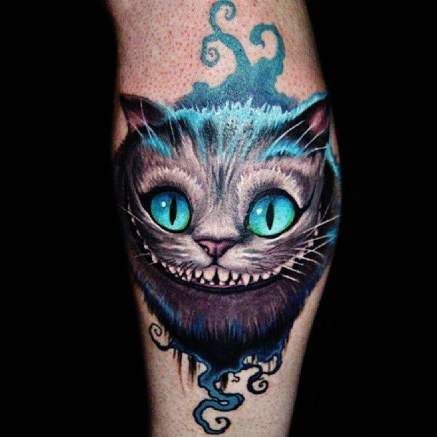 tatuaje del gato de cheshire