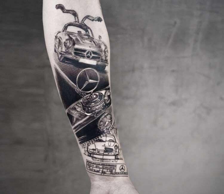 tatuaje de coche mercedes benz