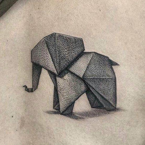 tatuaje de elefante de papel