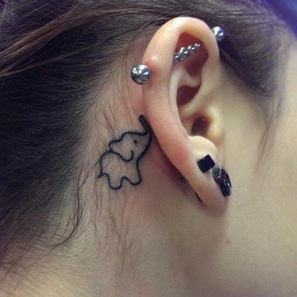 tatuaje de elefante detras de la oreja