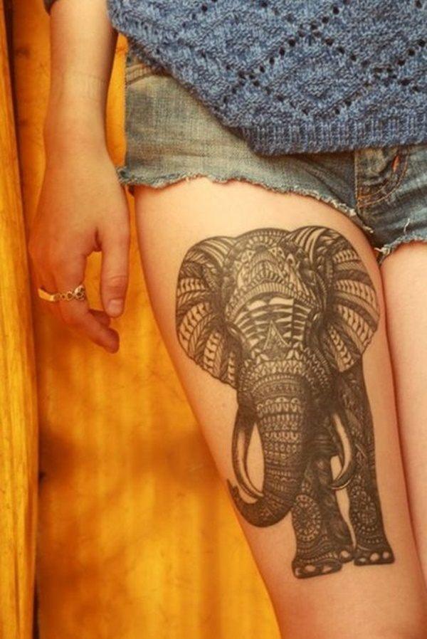tatuaje grande en la pierna de elefante para mujer