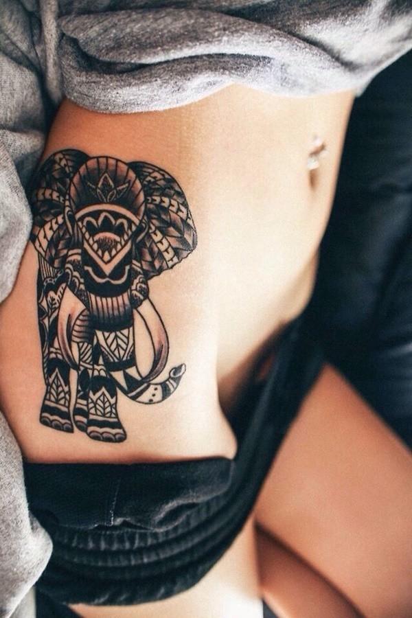 tatuaje sexy de elefante para mujer