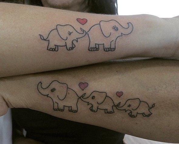 tatuajes de elefantes para parejas