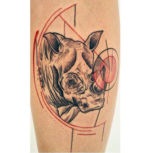 tatuaje de lineas rinoceronte