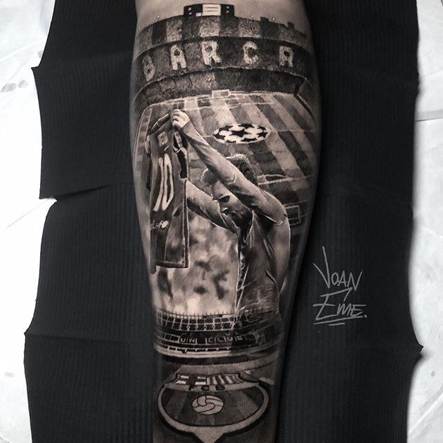 tatuaje realista de messi