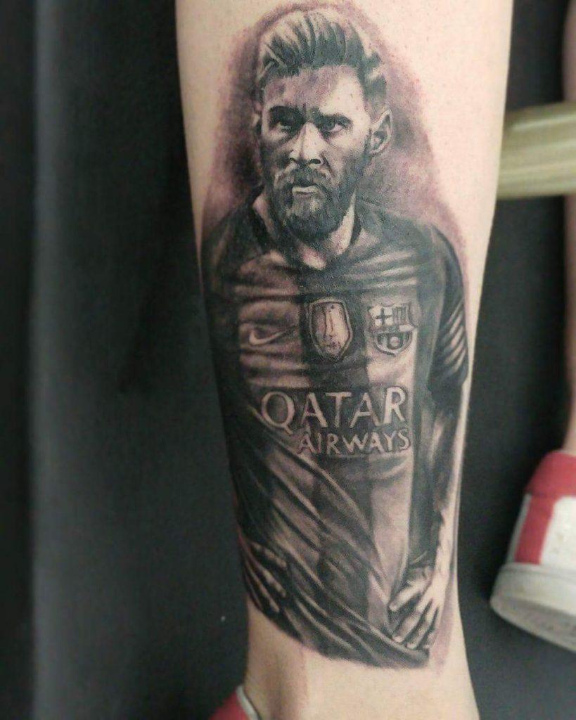 tatuaje retrato de messi