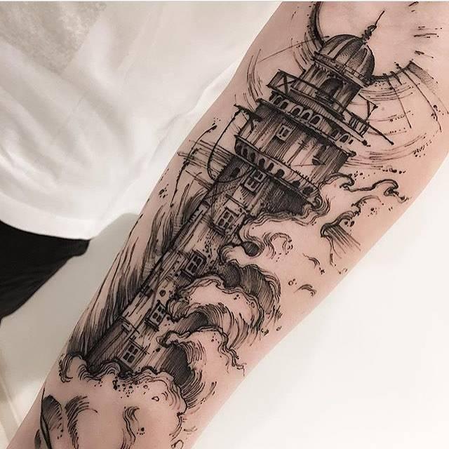 diseño tatuaje de faro old school