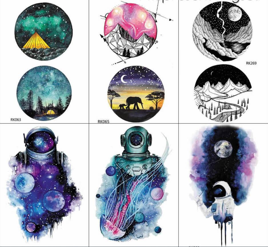 diseños para tatuajes de universo a color
