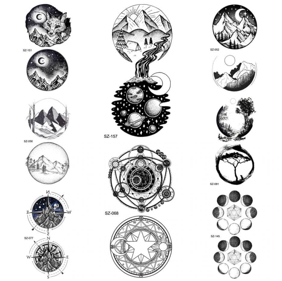 plantilla de tatuajes de universo