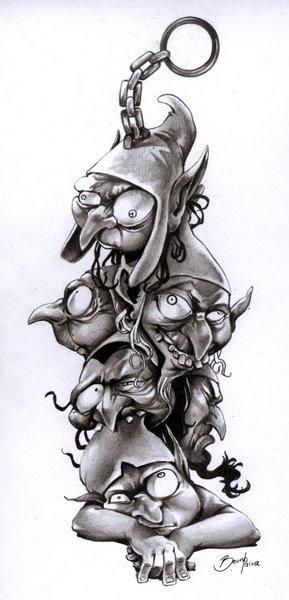 plantilla para tatuaje de duendes