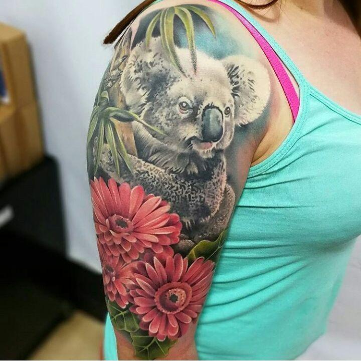 tatuaje 3D de koala en el brazo