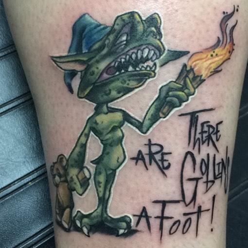 tatuaje de duende y frase