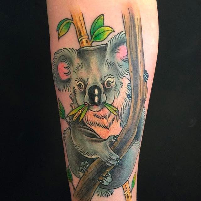 tatuaje de koala comiendo
