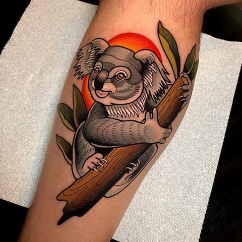 tatuaje de koala estilo mexicano